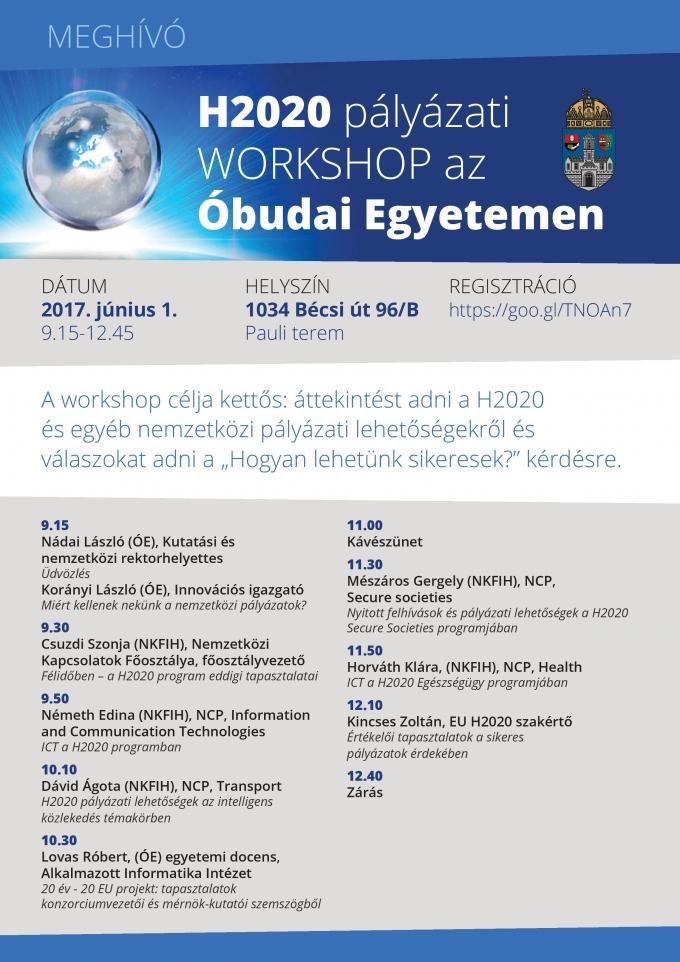 H2020 pályázati WORKSHOP az Óbudai Egyetemen