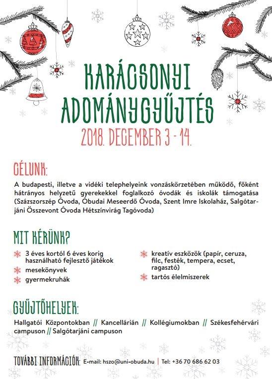 Karácsonyi adománygyűjtés az Óbudai Egyetemen
