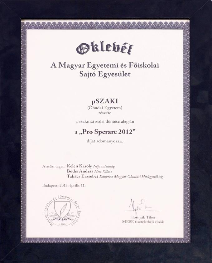 Pro Sperare 2012 oklevél
